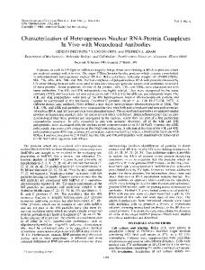 Characterization of Heterogeneous Nuclear RNA-Protein Complexes ...
