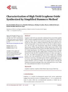 Characterization of High Yield Graphene Oxide Synthesized by ...
