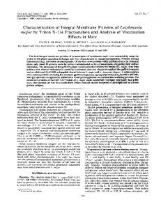 Characterization of Integral Membrane Proteins of Leishmania major ...
