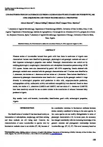 CHARACTERIZATION OF LACTOBACILLUS FROM ... - SciELO