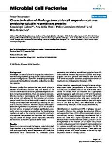 Characterization of Medicago truncatula cell suspension cultures ...