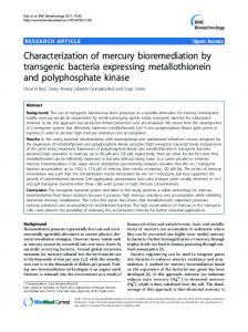 Characterization of mercury bioremediation by ... - Springer Link