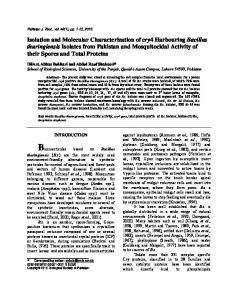 characterization of mosquitocidal bacillus thuringiensis strains isolated ...