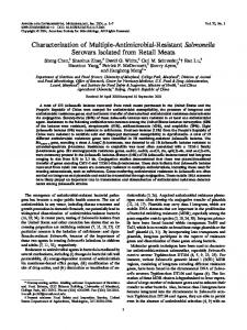 Characterization of Multiple-Antimicrobial-Resistant Salmonella ...