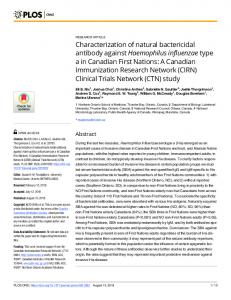 Characterization of natural bactericidal antibody against ... - PLOS