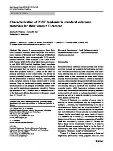 Characterization of NIST food-matrix standard reference materials for ...