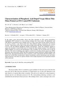 Characterization of Phosphoric Acid Doped N-type Silicon Thin Films ...