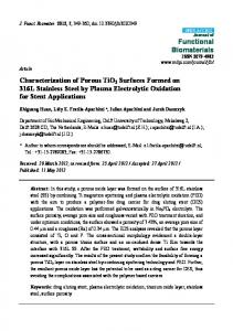 Characterization of Porous TiO2 Surfaces Formed on 316L ... - MDPI