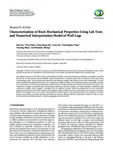 Characterization of Rock Mechanical Properties Using Lab Tests and ...