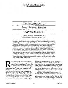 Characterization of Rural Mental Health Service Systems