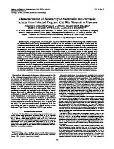 Characterization of Saccharolytic Bacteroides and Prevotella Isolates ...