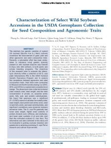 Characterization of Select Wild Soybean Accessions in the USDA