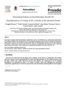 Characterization of soiling on PV modules in the Atacama ... - Laborelec