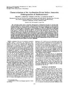 Characterization of the acclimation period before anaerobic ...