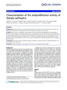 Characterization of the antiproliferative activity of ... - BioMedSearch