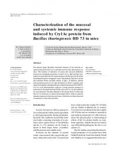 Characterization of the mucosal and systemic immune response ...