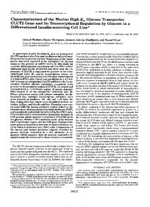 Characterization of the murine high Km glucose transporter GLUT2 ...