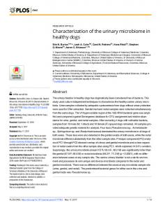 Characterization of the urinary microbiome in healthy dogs - PLOS