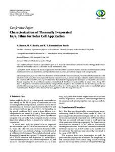 Characterization of Thermally Evaporated In2S3 Films for Solar Cell ...