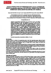 CHARACTERIZATION OF THERMOSTABLE - TOJSAT