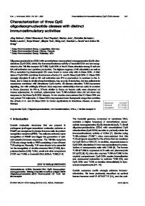 Characterization of three CpG oligodeoxynucleotide classes with ...