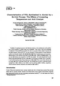 Characterization of TiO2 Synthesized in Alcohol by a Sol ... - DergiPark