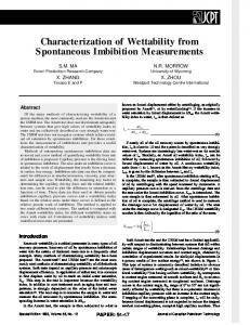 characterization of wettability from spontaneous imbibition ...
