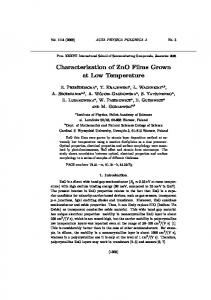 Characterization of ZnO Films Grown at Low Temperature