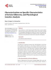 Characterization on Specific Characteristics of Sericin ...
