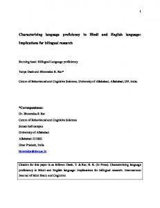 Characterizing language proficiency in Hindi and English language ...