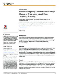 Characterizing Long-Term Patterns of Weight Change in China ... - Plos