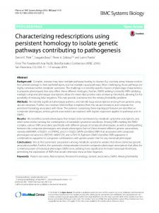Characterizing redescriptions using persistent homology to isolate ...