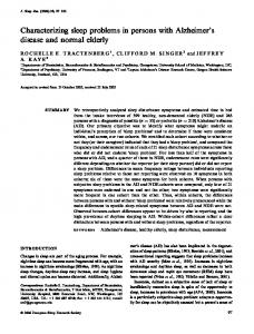 Characterizing sleep problems in persons with ... - Wiley Online Library