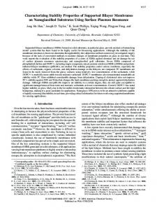 Characterizing Stability Properties of Supported ... - ACS Publications