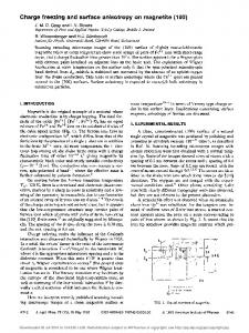 Charge freezing and surface anisotropy on ... - Semantic Scholar