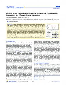 Charge Stripe Formation in Molecular Ferroelectric Organohalide ...