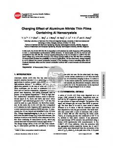 Charging Effect of Aluminum Nitride Thin Films Containing Al ... - NTU