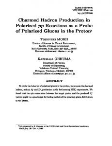 Charmed Hadron Production in Polarized pp Reactions as a Probe ...