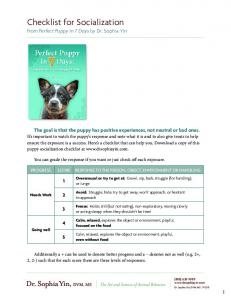 Checklist for Socialization - dogs etc