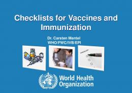 Checklists for Vaccines and Immunization - World Health Organization