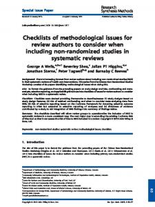 Checklists of methodological issues for review ...