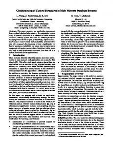 Checkpointing of Control Structures in Main ... - Semantic Scholar