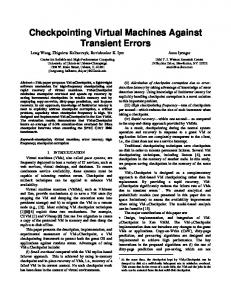 Checkpointing Virtual Machines Against Transient ... - Semantic Scholar