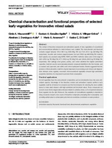 Chemical characterization and functional ... - Wiley Online Library
