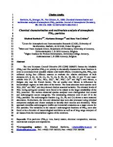Chemical characterization and multivariate analysis of atmospheric ...