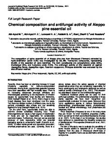 Chemical composition and antifungal activity of Aleppo pine essential oil