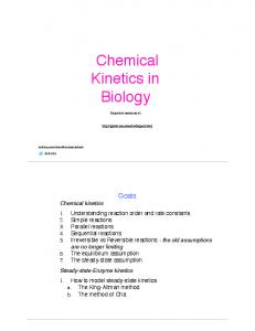 Chemical Kinetics in Biology