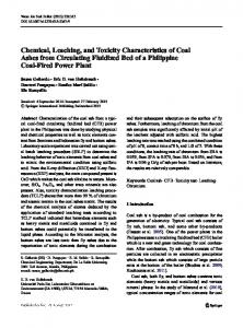 Chemical, Leaching, and Toxicity Characteristics of ...