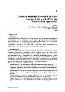 Chemical Mediated Synthesis of Silver Nanoparticles ... - InTechOpen
