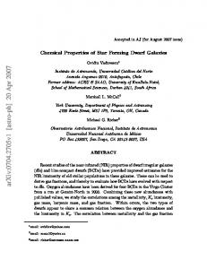 Chemical Properties of Star Forming Dwarf Galaxies
